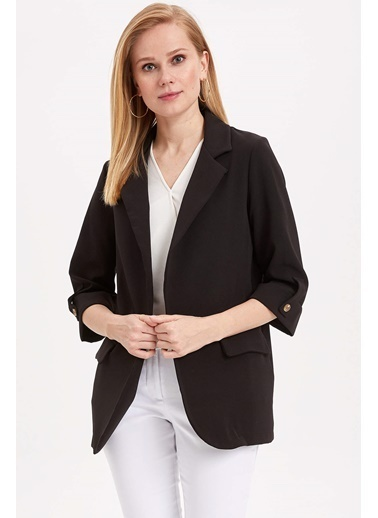 DeFacto Kolları Düğmeli Ceket Siyah